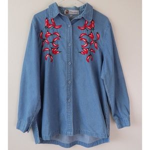 Vintage Denim Chile Pepper Long Sleeve Button Up